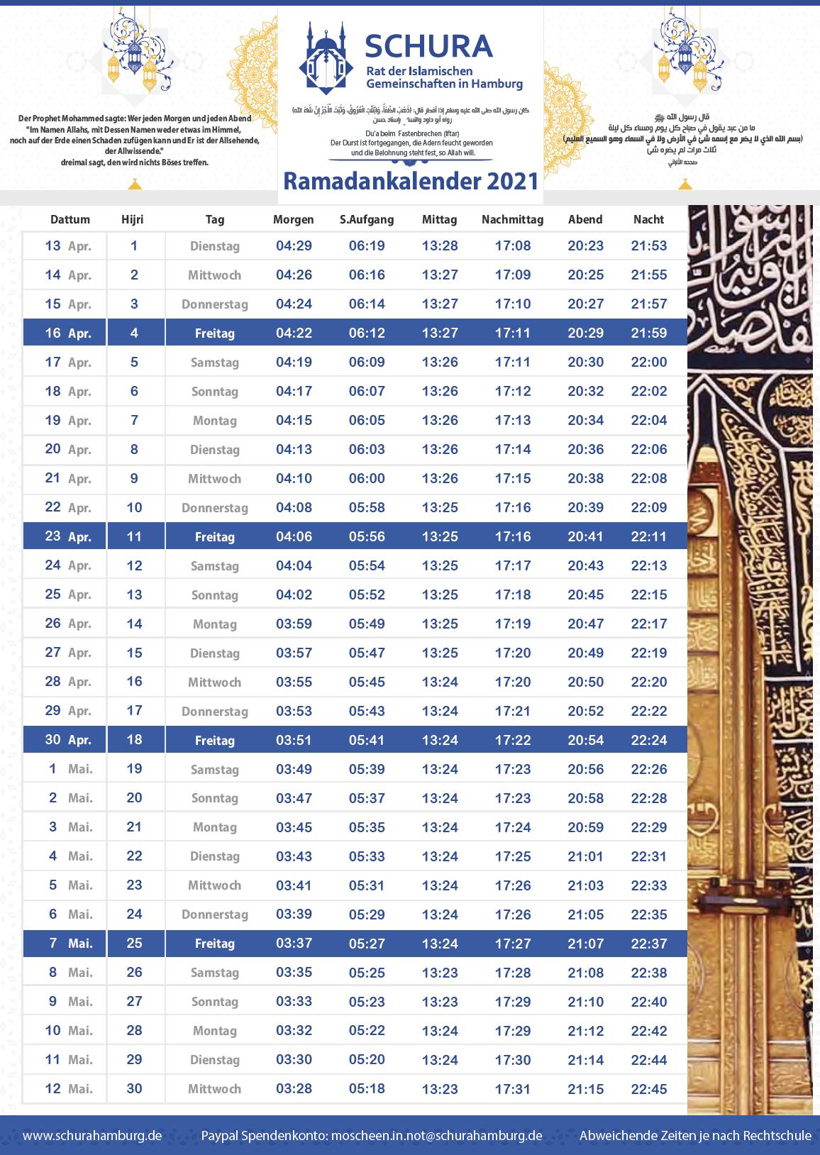 Ramadan Kalender 2021 Schura Hamburg